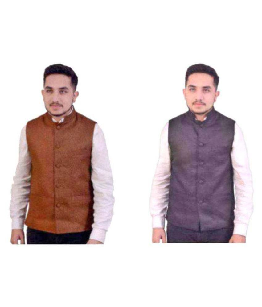 Fashion n Style Multi Solid Formal Waistcoats