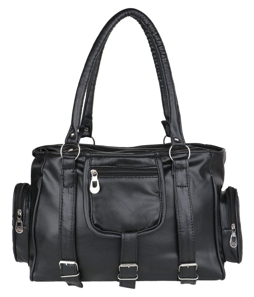 SV Creations Black P.U. Shoulder Bag