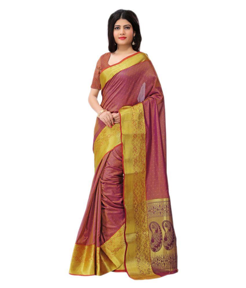 Just Fashion Yellow and Maroon Art Silk Saree
