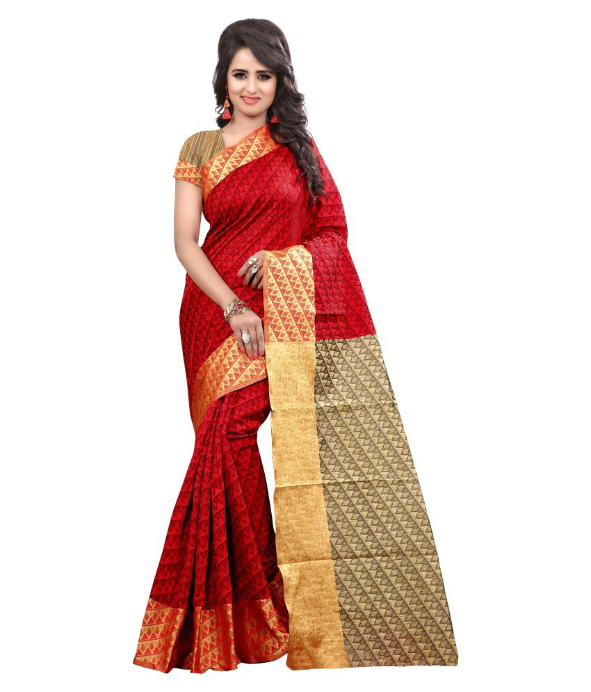 Fashion Now Red Cotton Silk Saree