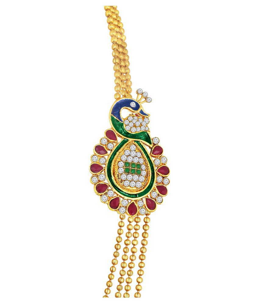 58fd56c67ed88 Spargz Brass Golden Long Haram Traditional Gold Plated Necklaces ...