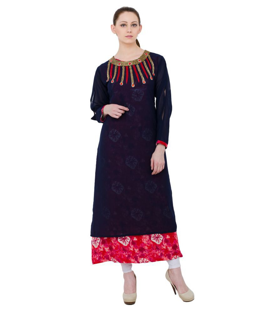 Henry Club Blue Rayon Double Layered Kurti