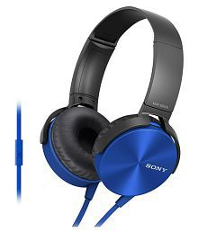 Sony MDR- XB450AP On Ear Wired Headphones With Mic Blue