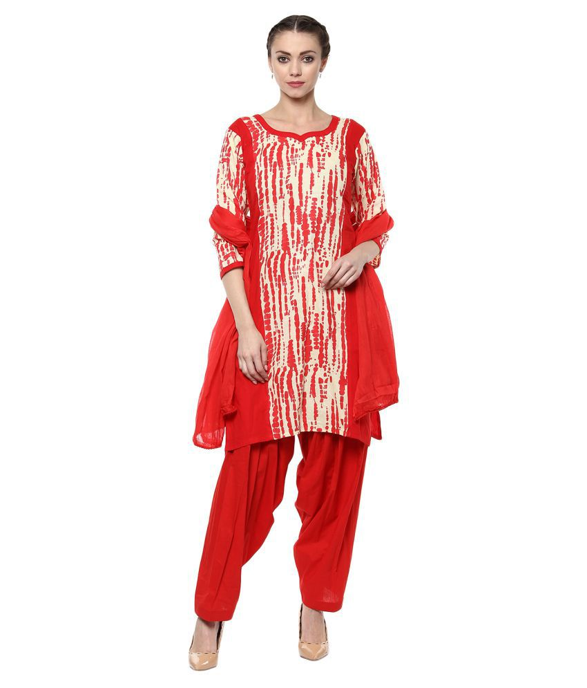 Laara Ethnic Wear Multicoloured Cotton Straight Stitched Suit