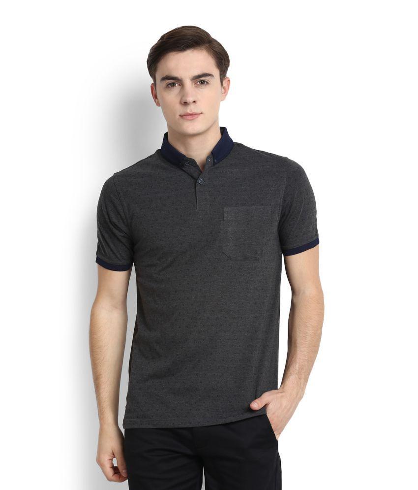Peter England Grey Polo T-Shirt