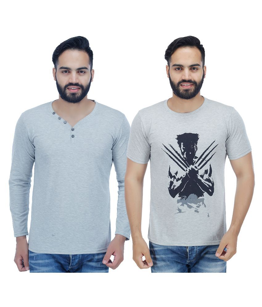 Candy House Grey V-Neck T-Shirt Pack of 2