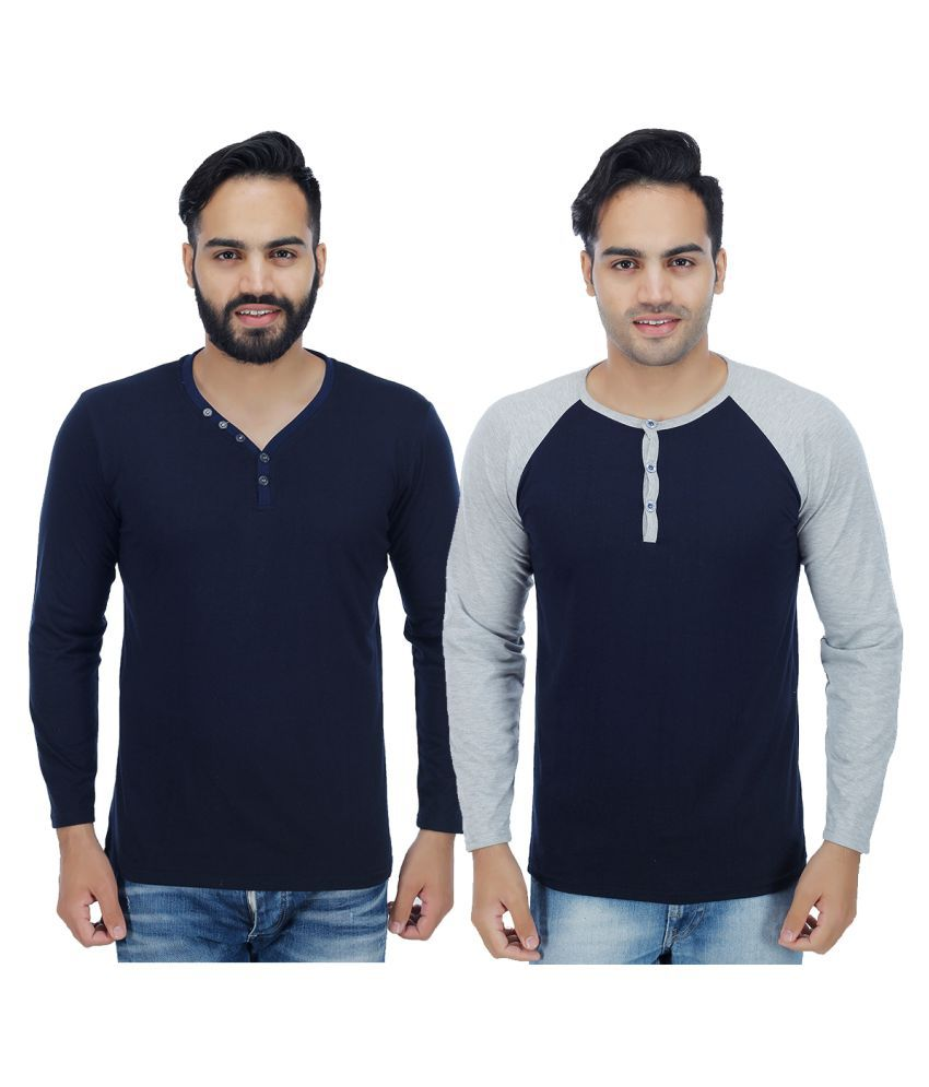 Christy World Blue Henley T-Shirt Pack of 2