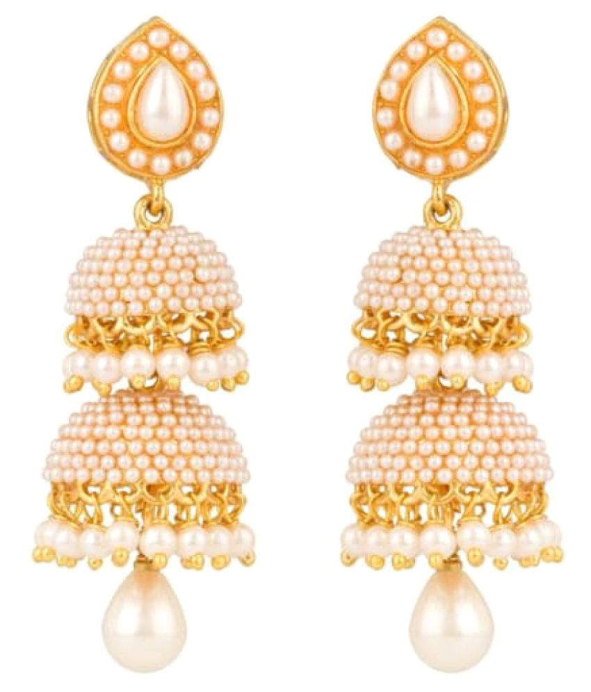 Farid Enterprises White Jhumki With Pearls And  Set Of 2 Layers