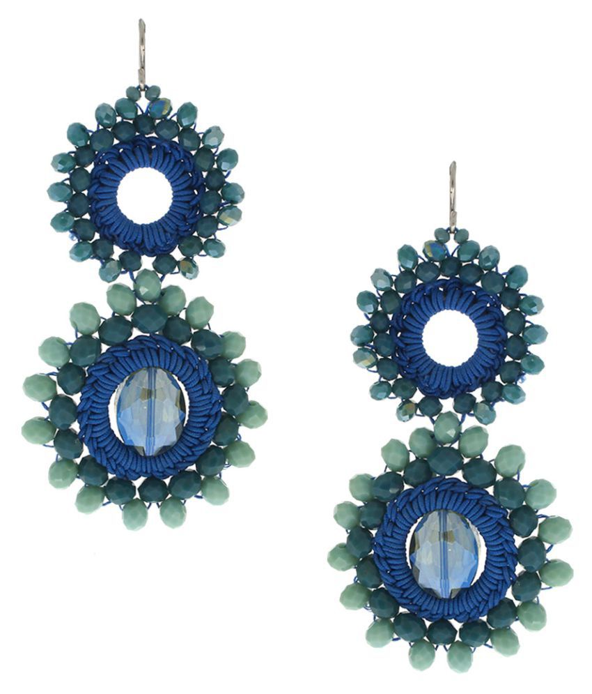 Anuradha Art Blue Colour Styled with Woven Crystal Beads Handmade Designer Wonderful Long Party Wear Fancy Earrings for Women