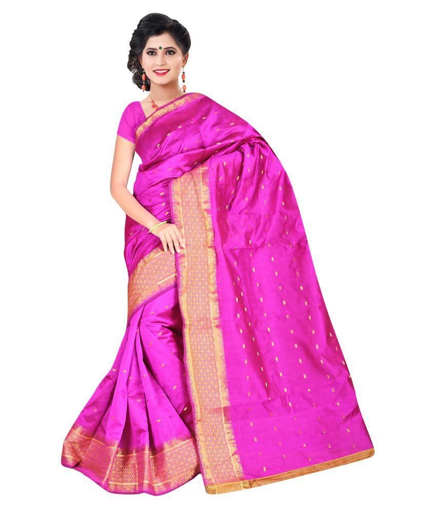 Richa Sarees Pink Chanderi Saree