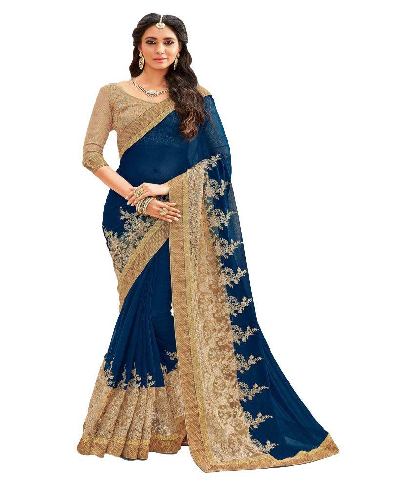 Vesh Bhusha Blue Georgette Saree