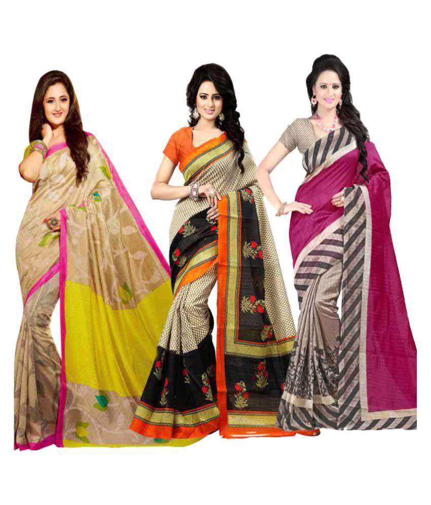 Styloce Multicoloured Bhagalpuri Silk Saree Combos
