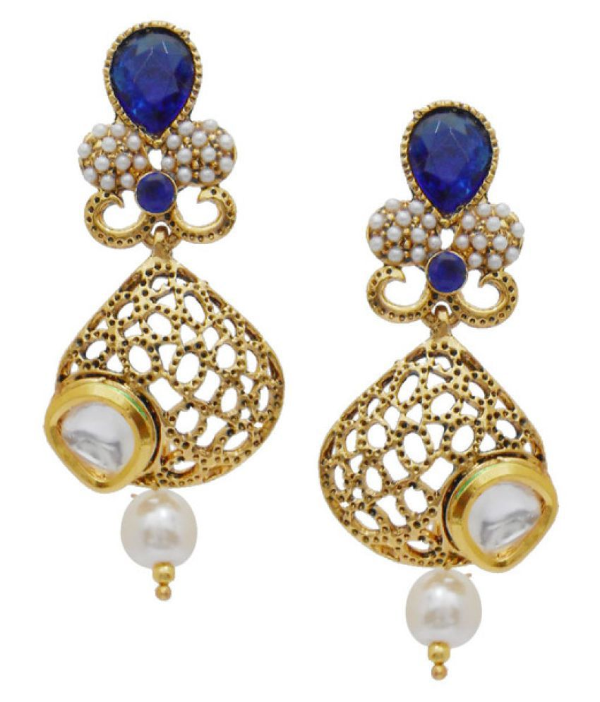 My Design Classy Blue Pearl Kundan Gold Plated Hanging Earrings For Women