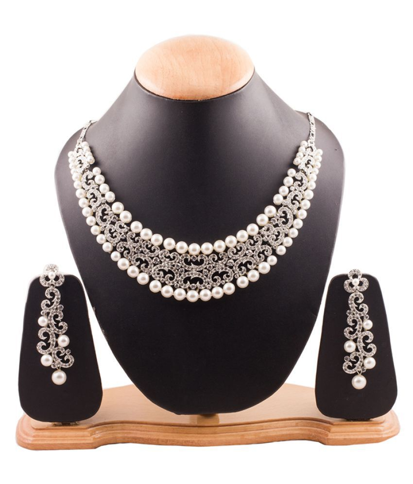Grace Jewels Pearl and American Diamond Necklace Set