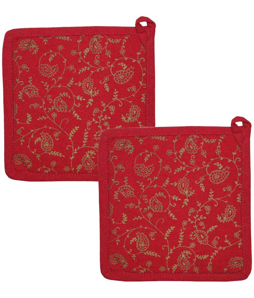 Airwill Red Cotton Designer Pot Holder - Pack of 2