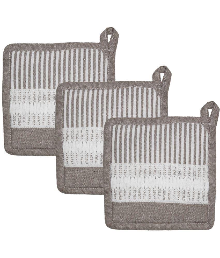 Airwill Cotton Designer Kitchen Linen Set of Oven Pot Holders (Pack of 3 pcs)