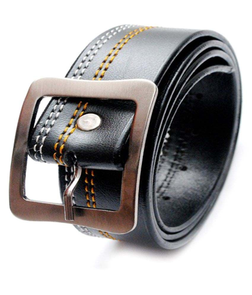 Madley Black Faux Leather Casual Belts