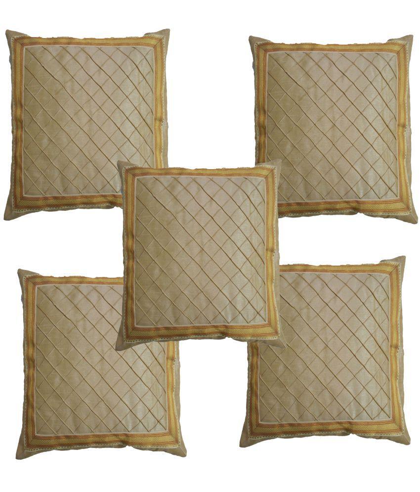 K.S.Craft Set of 5 Poly Dupion Cushion Covers 40X40 cm (16X16)