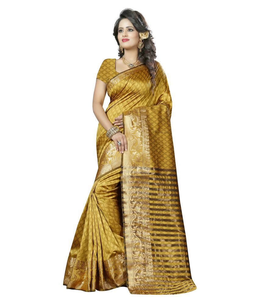 Dealsure Yellow Banarasi Silk Saree