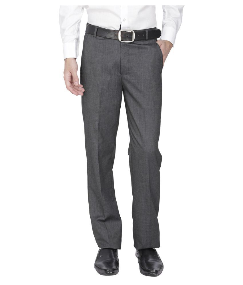 Fizzaro Grey Regular Pleated Trousers