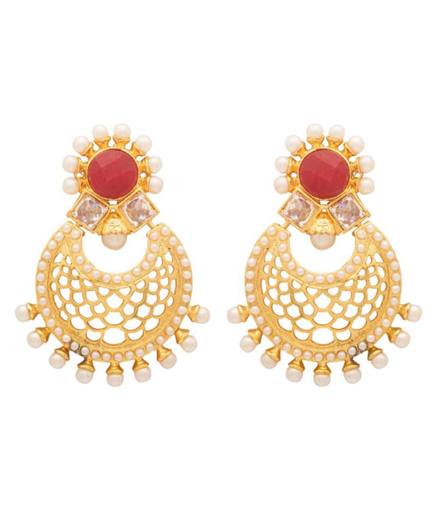Voylla Cut-out Designer Golden Pearl Studded Earrings