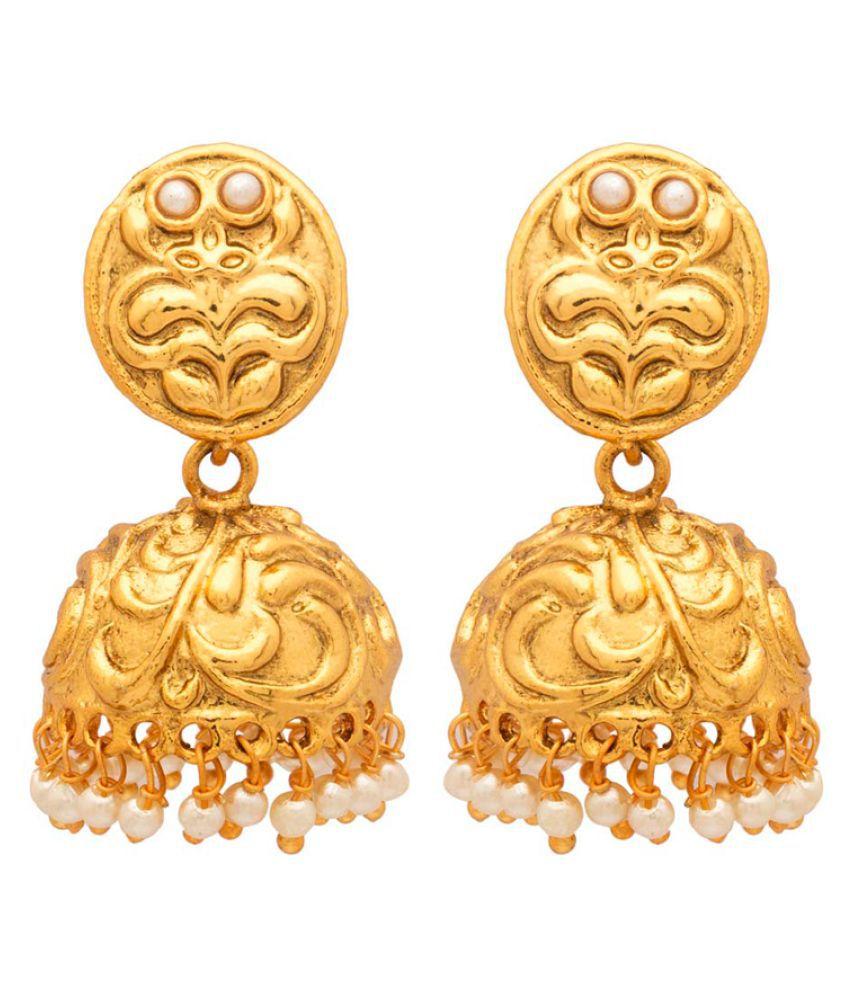 Voylla Golden Traditional Designer Jhumki Earrings For Women