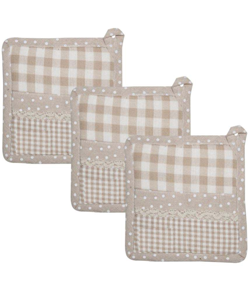 Airwill Cotton Designer Kitchen Linen Set of Oven Pot Holders- Pack of 3