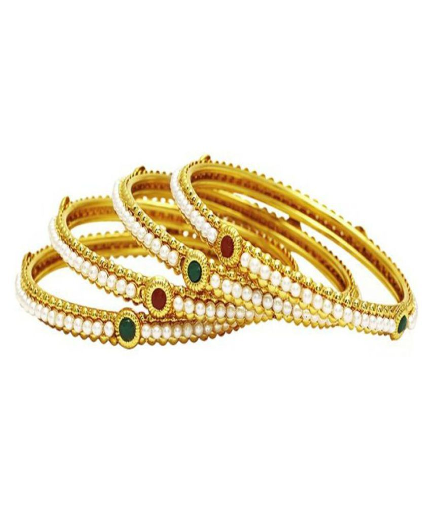 Bandish Multicolor Single Line Pearl Set of 4 Bangles