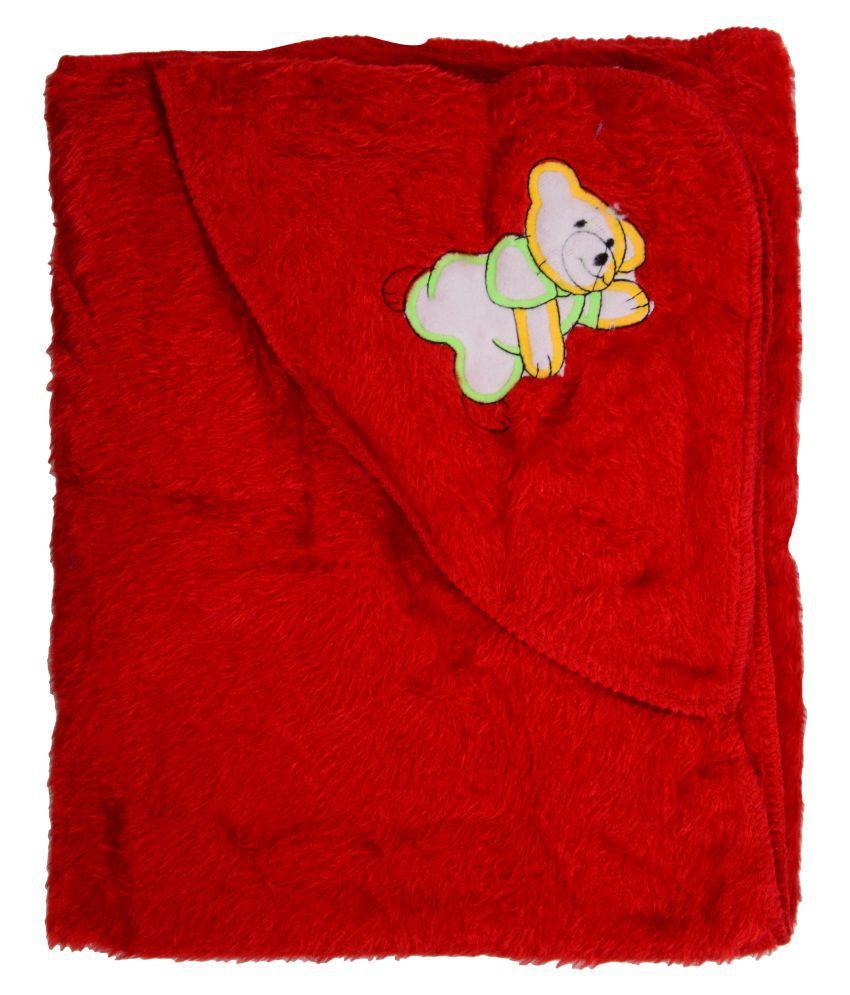 Joy Mart Red Cotton Baby Wrap cum blanket ( 86 cm × 28 cm - 1 pcs)