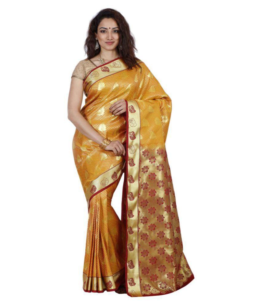 Jcn Yellow Art Silk Saree