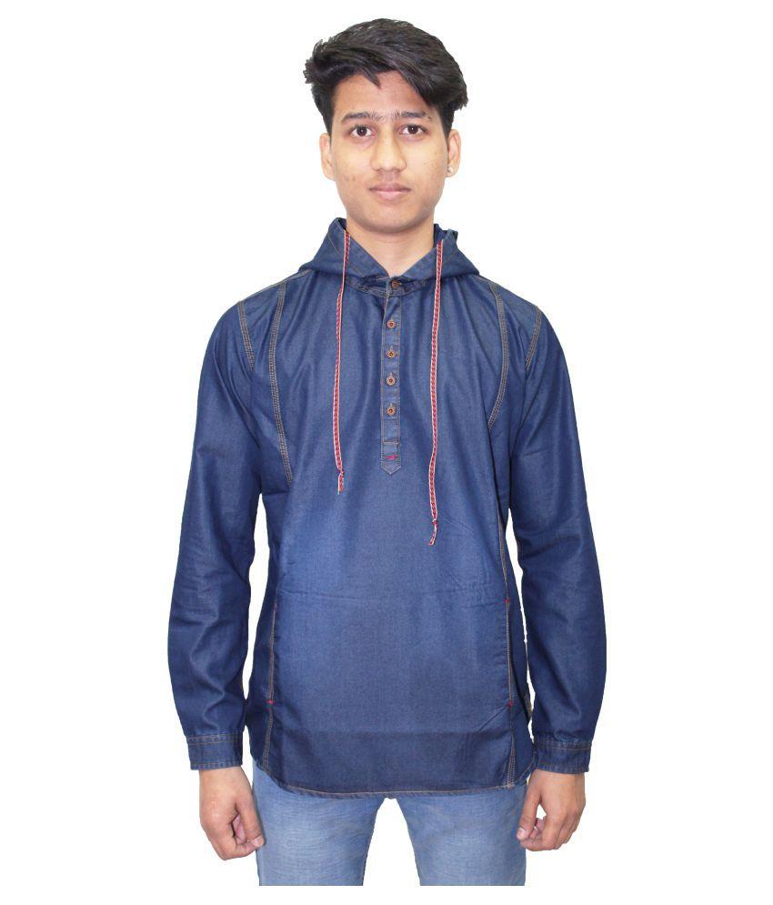 Kuons Avenue Blue 100 Percent Cotton Fleece Sweatshirt
