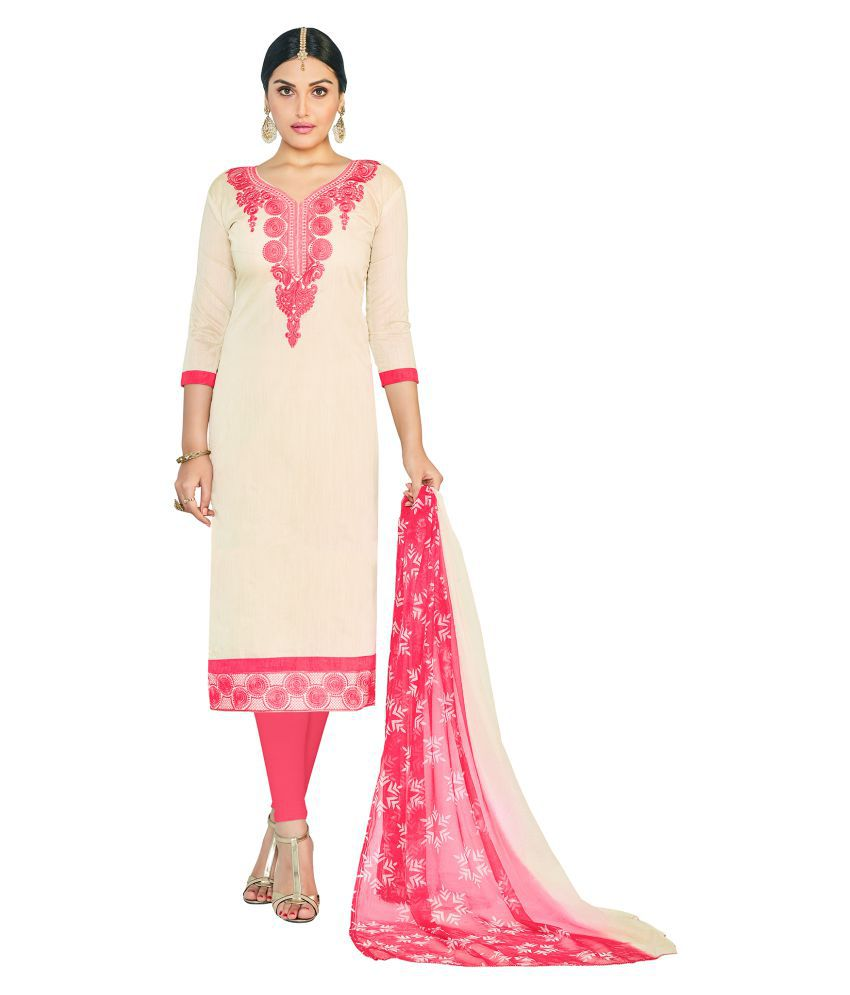Aasvaa Beige Chanderi Dress Material