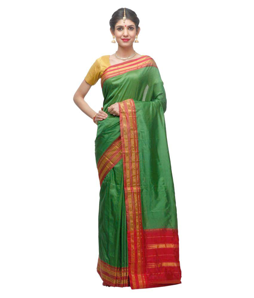 India Sari House Green Silk Saree