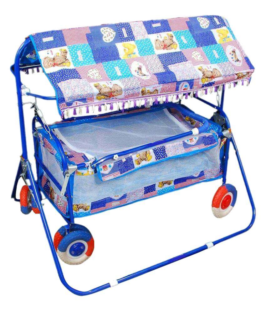 Shivaay Trading Eva Wheel Multicolour Baby Cradle Cum Cot Cum Stroller With Hood.