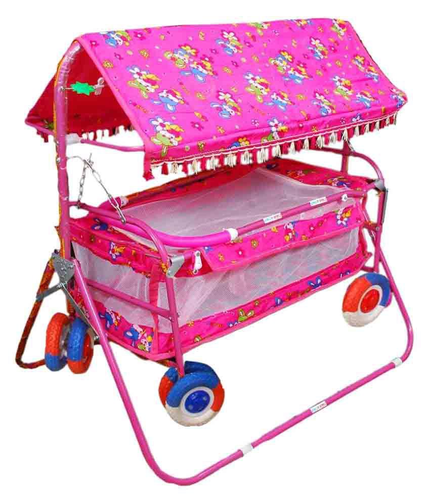 Shivaay Trading Co. Eva Wheel Pink Baby Cradle Cum Cot Cum Stroller With Hood.