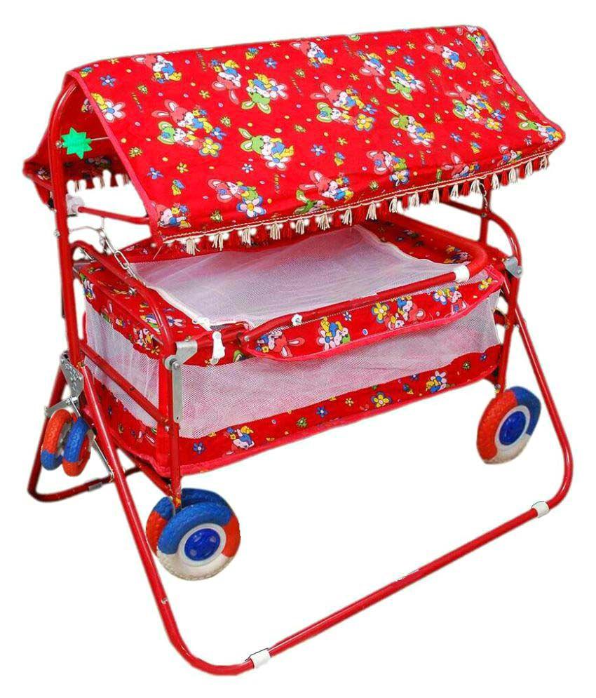 Shivaay Trading Eva Wheel Red Baby Cradle Cum Cot Cum Stroller With Hood.