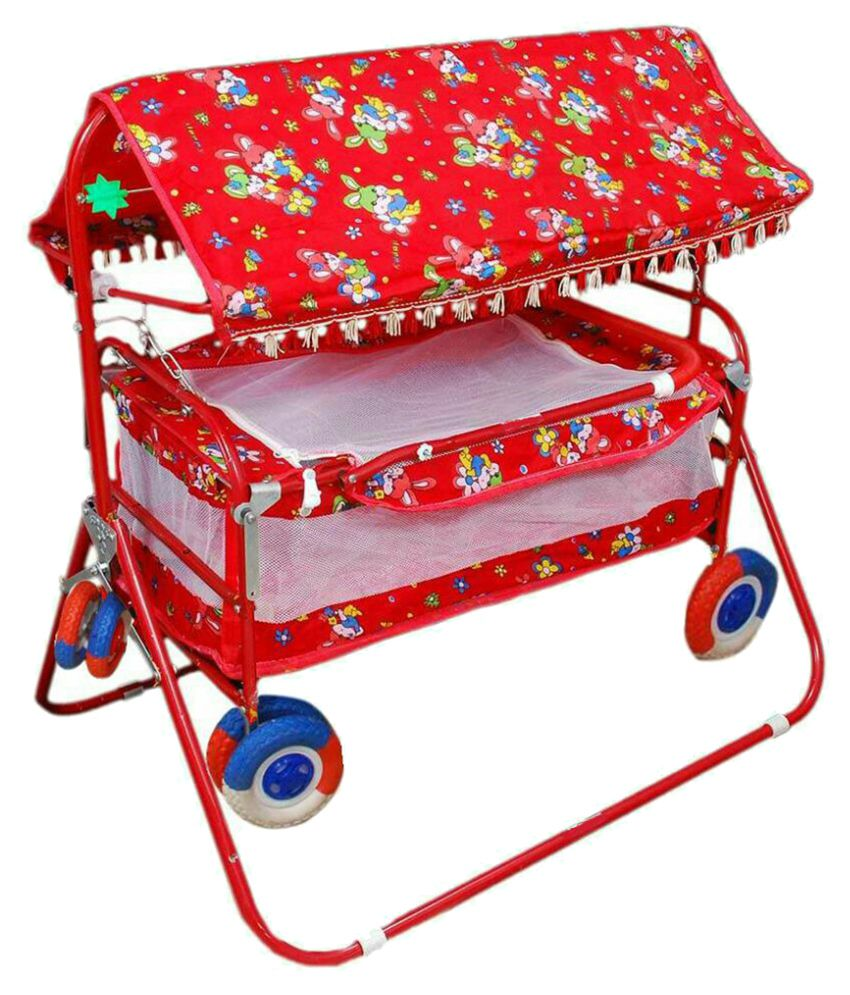 Shivaay Trading Co. Eva Wheel Red Baby Cradle Cum Cot Cum Stroller With Hood.