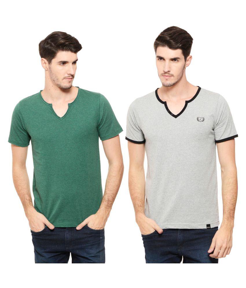 Rigo Multi V-Neck T-Shirt Pack of 2