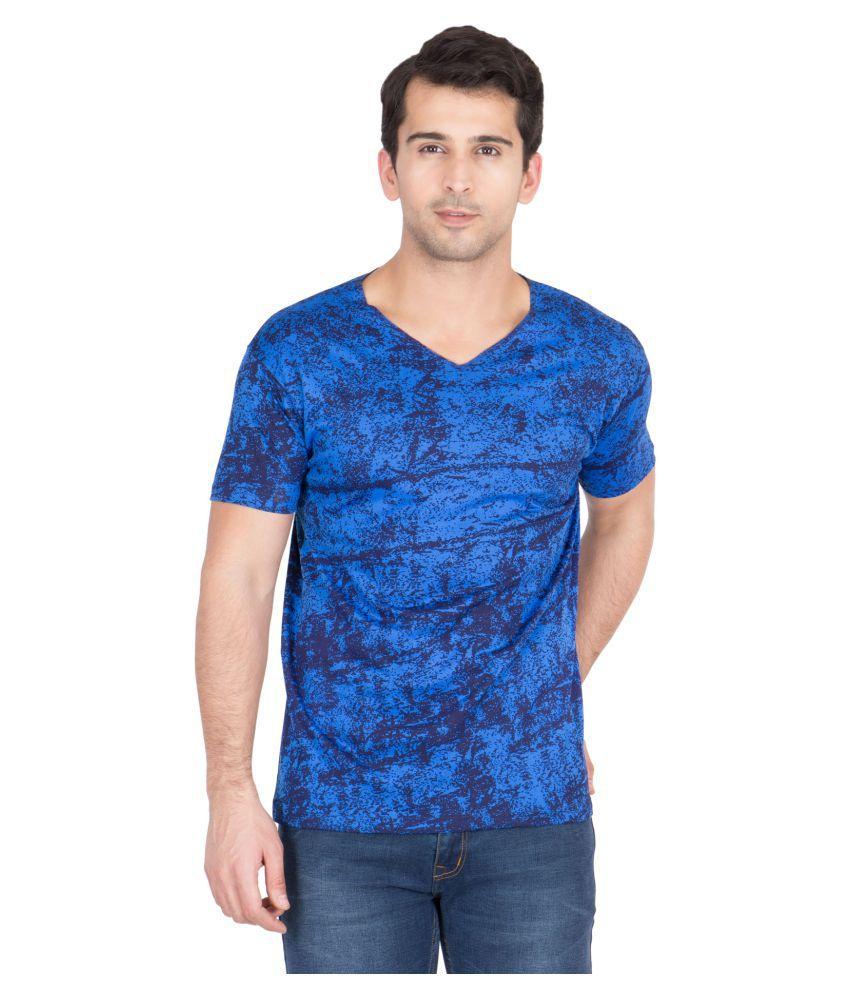 American-Elm Blue V-Neck T-Shirt