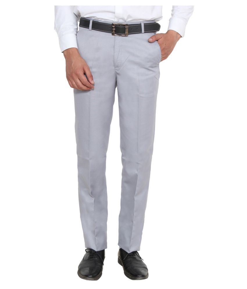 Ansh Fashion Wear Grey Regular Flat Trousers