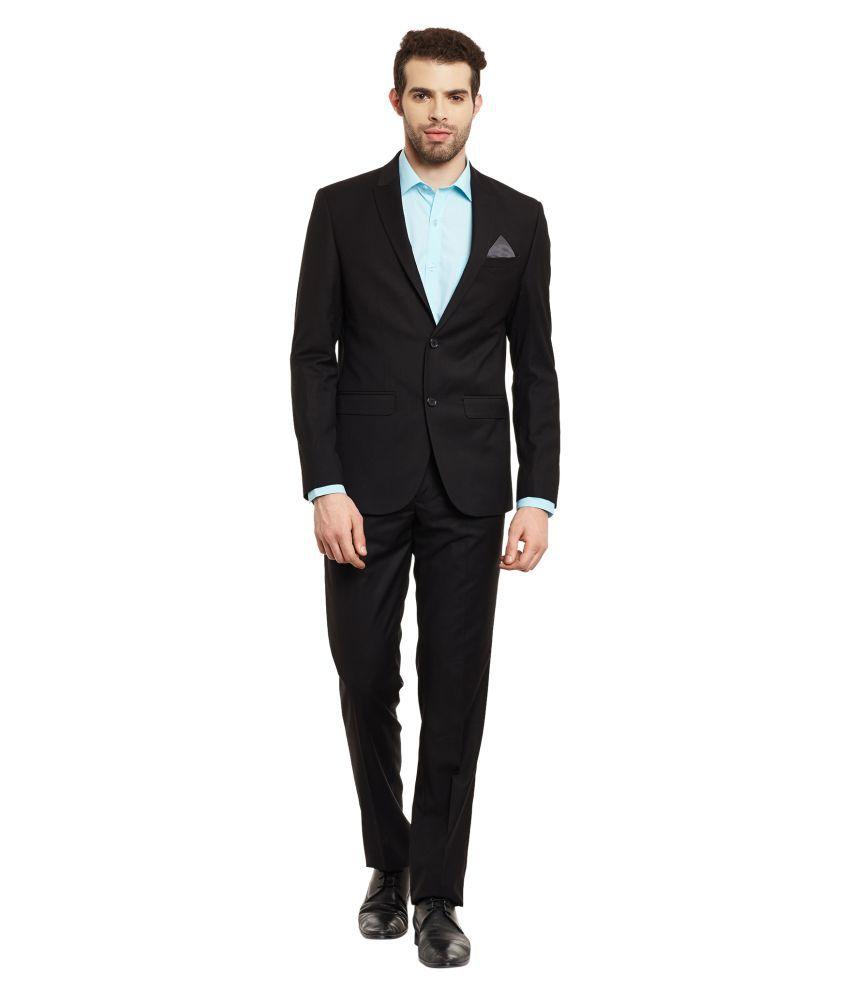 Envoy Black Plain Casual Suit