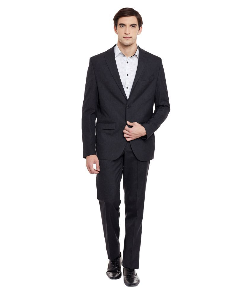 Envoy Black Plain Casual Suit