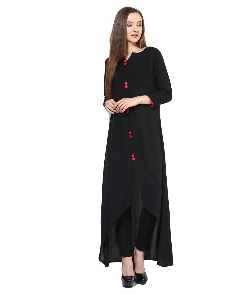 Fashionsurat Black Rayon High Low Hemline Kurti