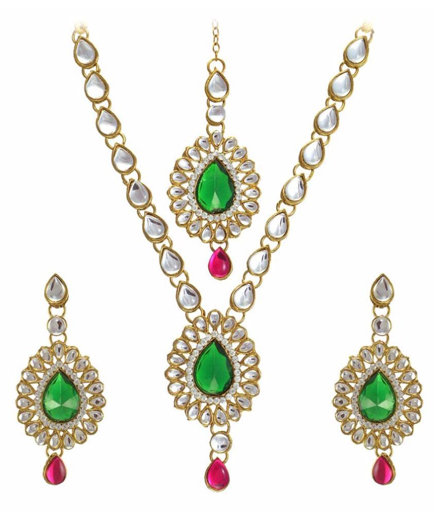 Supershop Multi Color Necklaces Set With Maang Tikka