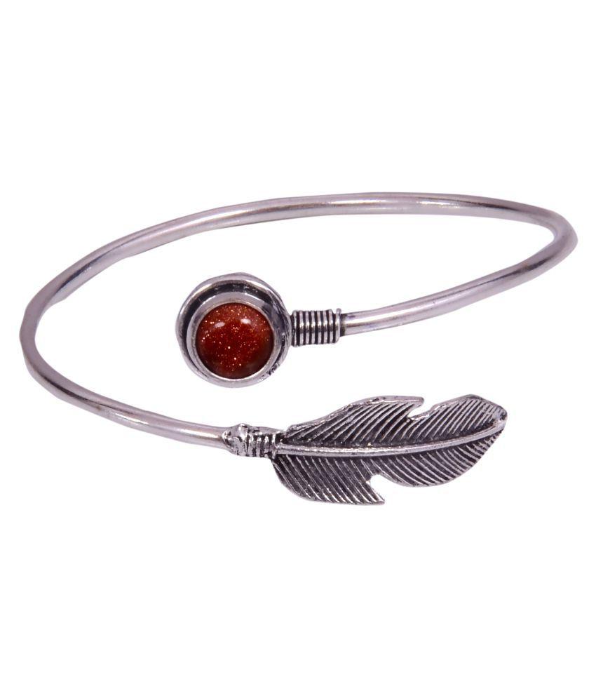 Marwari Fashion Brown German Silver Bracelet