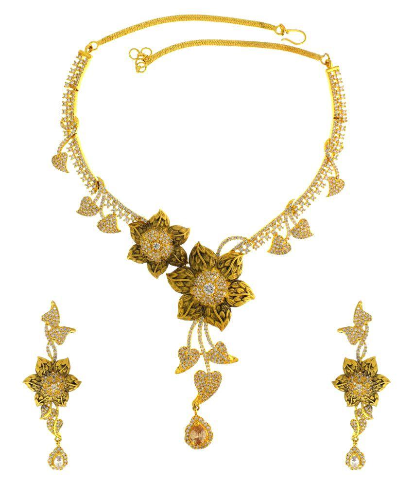 Anuradha Art Golden Color Necklace Set