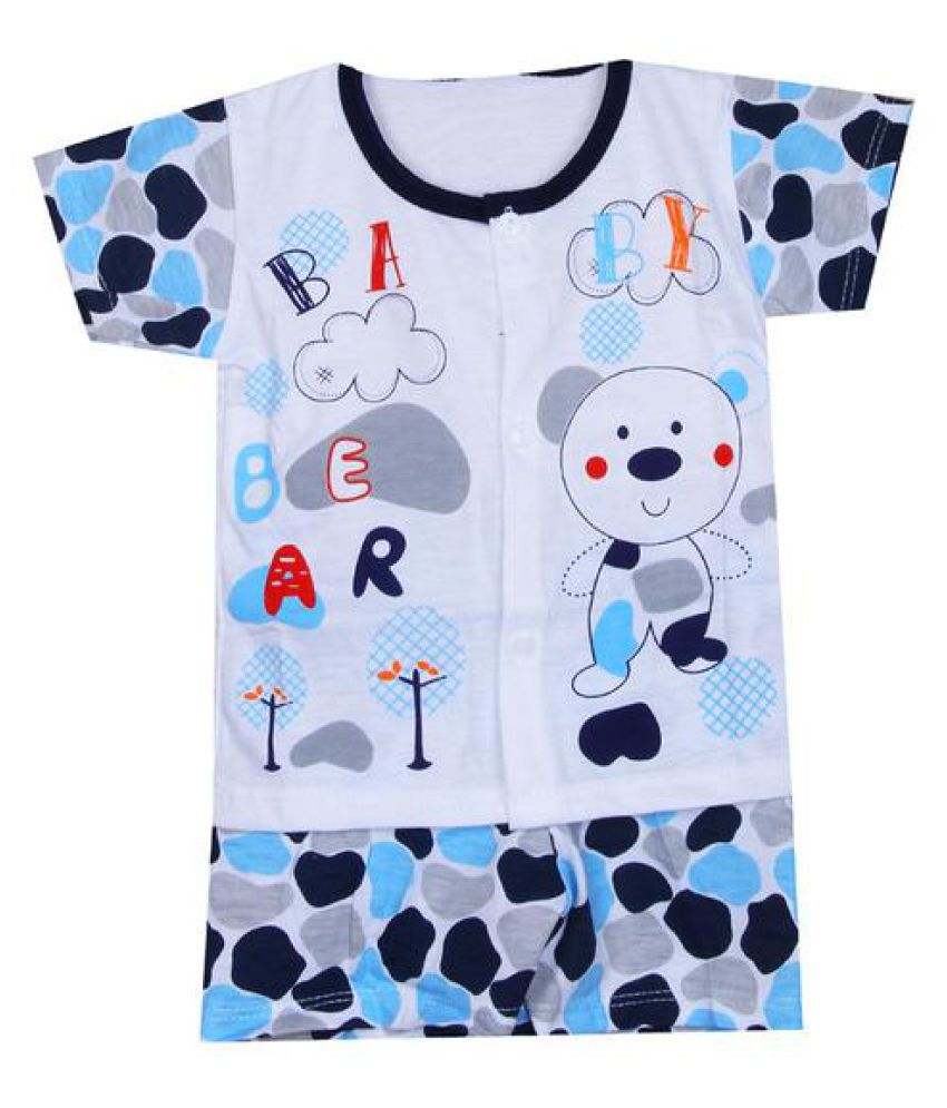Pikaboo Bear Printed Night Suit - L. Multi (3-6 Month)