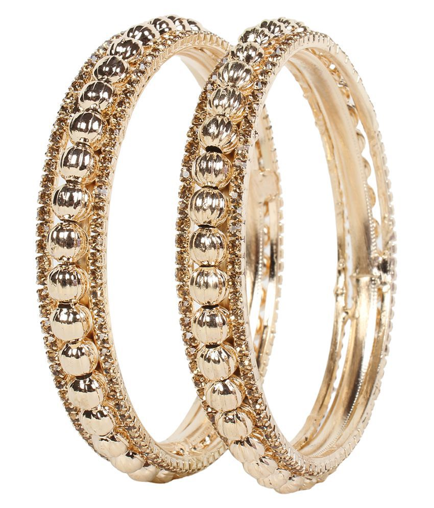Penny Jewels Party Wear Fashion Designer Traditional Stone Golden Bangles Set  for Women ( Pack of 2 )