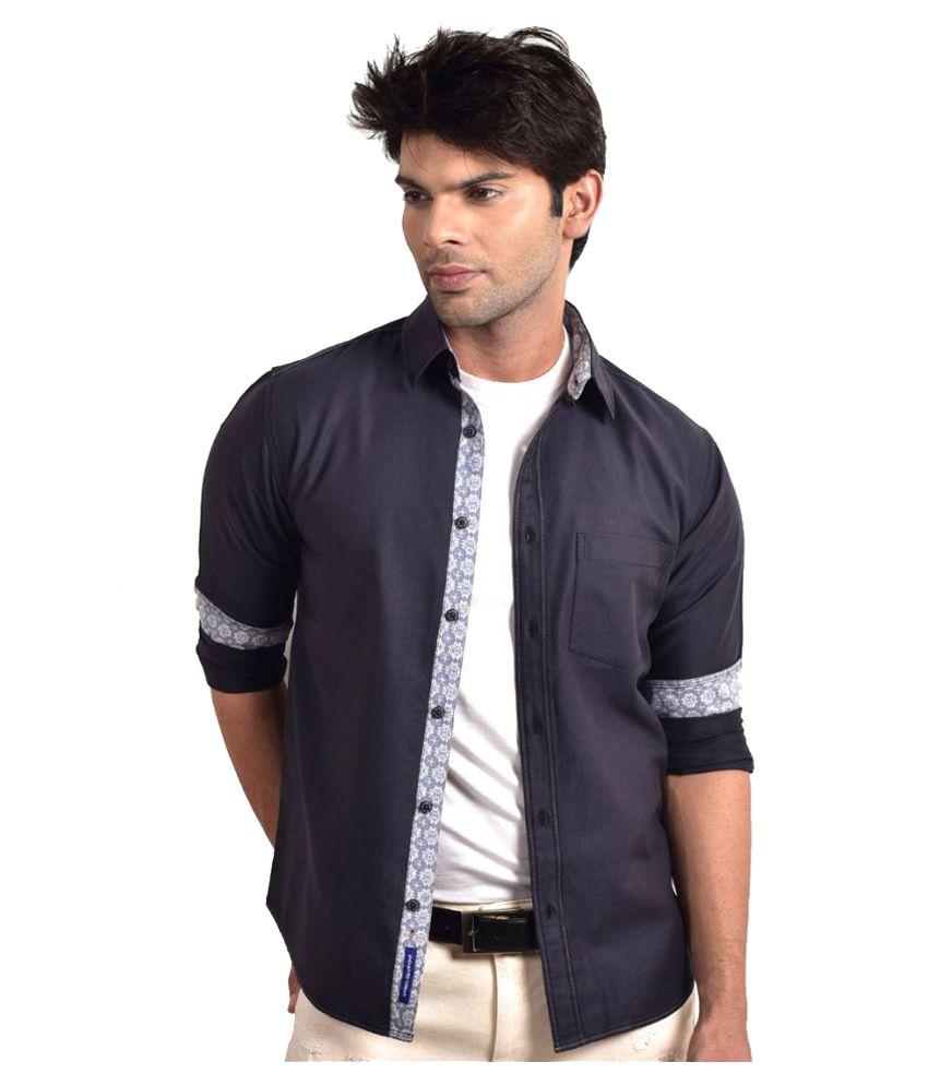 Bluvior Navy Casuals Slim Fit Shirt