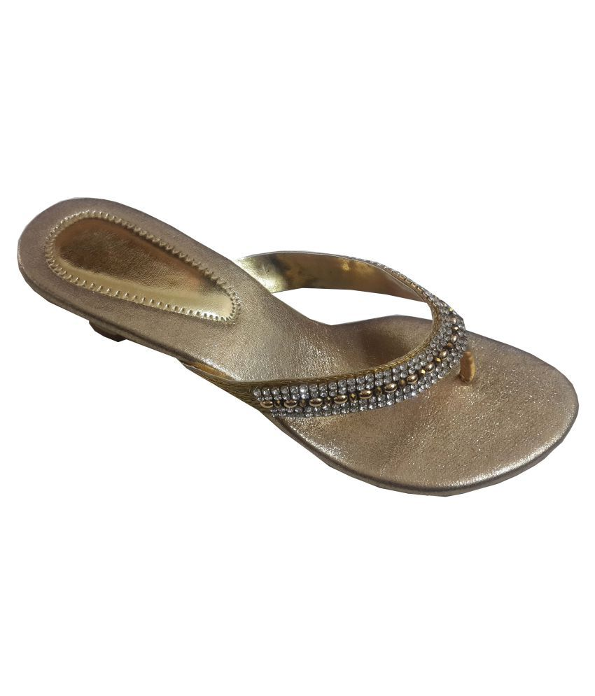 Babes World Gold Cone Ethnic Footwear